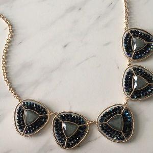 Navy Blue Purple Iridescent Gold Bead Necklace